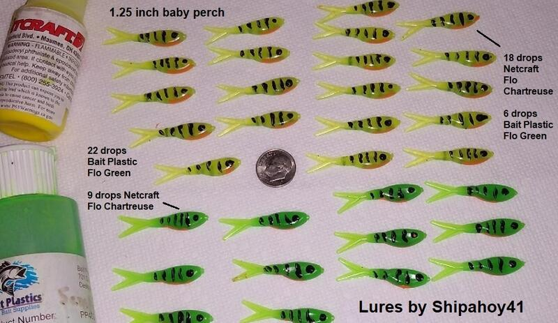 Name:  Yellow and green perch plastic lures.jpg
