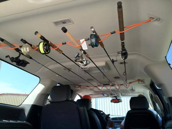 A cool idea for a rod holder for your suv for Cool fishing poles